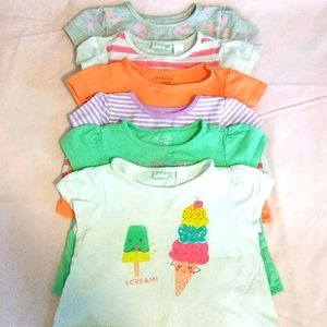 6pc Toddler Short Sleeved T-shirts Size 24 Months